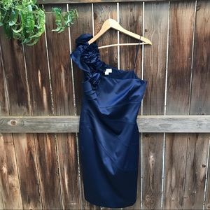JESSICA SIMPSON NAVY BLUE ONE SHOULDER DRESS